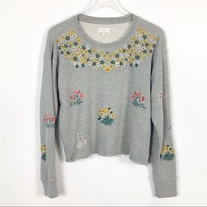 Lucky Brand Floral Embroidered Cropped Sweatshirt